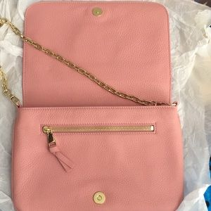 Tory Burch pink Leather clutch w/ gold chain strap